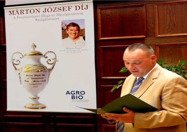 MÁRTON JÓZSEF DÍJ a Fenntartható Magyar Mezőgazdaság Szolgálatáért