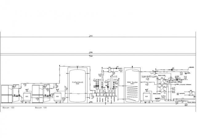 12. ábra: A megvalósult csirkevágóhíd kazánházi kapcsolási rajza