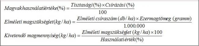 1. táblázat A kivetendő magmennyiség kiszámítása