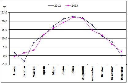 4. ábra: Havi átlaghőmérséklet alakulása (2012-2013 Nagyigmánd-Szőkepuszta)