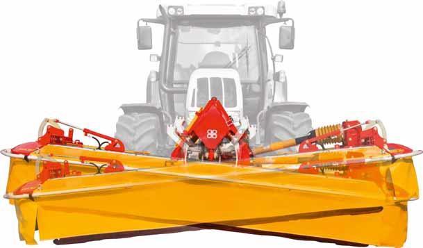 9. ábra: A vontatott és mellső függesztésű tárcsás kaszák esetében is a vágószerkezet központi megfogása a paralelogramma felfüggesztéssel tökéletes kereszt- és hosszirányú talajkövetést biztosít