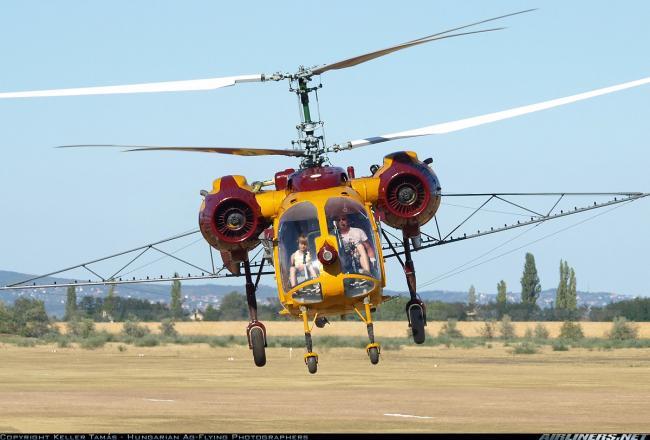1.kép Ka-26 helikopter permetező kerettel felszerelve