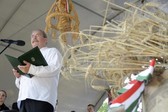 Kenderes, 2014. július 26. Fazekas Sándor földművelésügyi miniszter ünnepi beszédet mond a kenderesi Horthy Ligetben 2014. július 26-án. A Magyarok kenyere gabonájának ünnepélyes begyűjtése elnevezésű program kenderesi rendezvényén a Jász-Nagykun-Szolnok megyei gazdák által felajánlott 41 tonna búzából településenként egy-egy zsákot szekereken vittek a Horthy Ligetbe, ahol ünnepélyesen megszentelték a búzával megtöltött zsákokat. MTI Fotó: Mészáros János