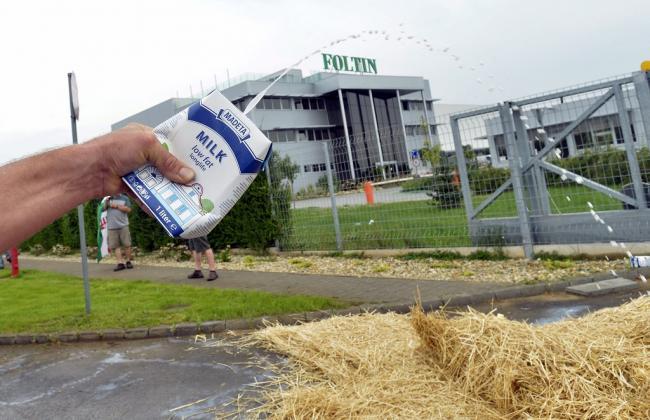 Nagytarcsa, 2014. július 8. Importból származó tejet locsol a tejtermelők demonstrációjának egyik résztvevője a Foltin Globe Kft. nagytarcsai logisztikai központ bejárata elé 2014. július 8-án. A termelők a tiltakozással a fogyasztók figyelmét szeretnék felhívni arra, hogy részesítsék előnyben a magyar tejtermékeket az importtal szemben, valamint figyelmeztetni akarnak egyes, szerintük aránytalanul nagy mennyiségben import tejtermékeket forgalmazó kereskedőket arra, hogy preferálják a magyar tejtermékeket. MTI Fotó: Máthé Zoltán