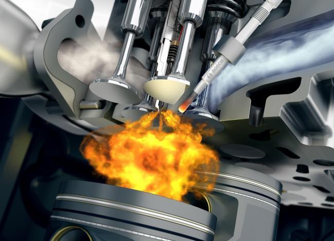 5. ábra Közvetlen befecskendezésű dízelmotor égéstere 8 mm átmérőjű rúd alakú izzítógyertyával (Fotó: Bosch)