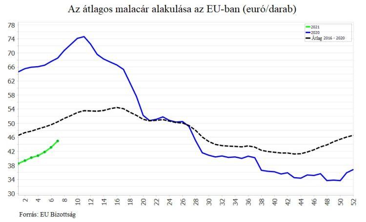 Az átlagos malacár alakulása az EU-ban (euró/darab)